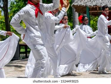 Dancers dancing son jarocho la bamba folk dance. Cuba, spring 2018