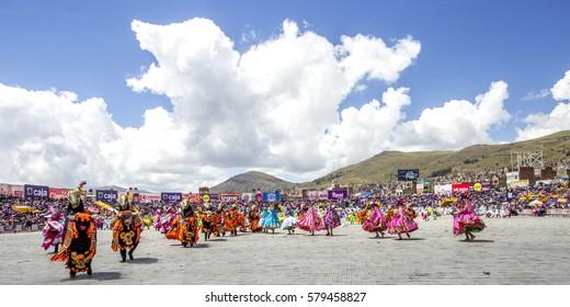 Dancers at La Candelaria Virgin Celebration  - Enrique Torres Belón Stadium - Puno, Perú. February 05, 2017