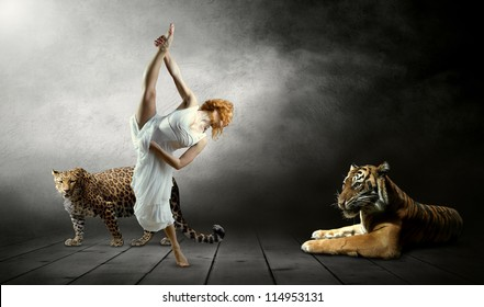 Dancers in posing and tiger