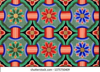 Dancheong - Korean traditional multicolored paintwork on wooden buildings