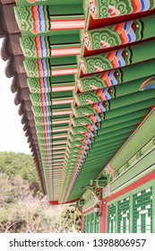 Dancheong, pattern and coloring on wooden building of traditional Korean architecture