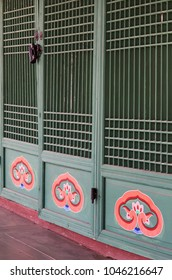Dancheong,  traditional Korean multi-colored paintwork on wooden door