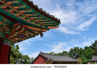 Dancheong, traditional multicolored paintwork on wooden temple