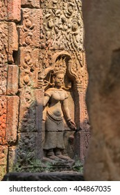 Dancing Apsaras an old Khmer art carvings on the wall in Ta Prohm Temple,Siem Reap, Cambodia.