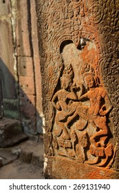 Dancing apsaras on the walls of  Bayon Temple, Angkor Thom,  Cambodia