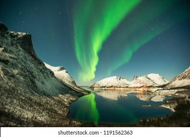 Dancing aurora over the sky of senja