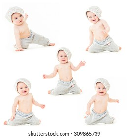 Dancing baby. Ð¡heerful baby in the hat. Beautiful happy baby . One,isolated on white. Laughing baby.