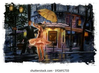 Dancing couple street umbrella Torn Edges