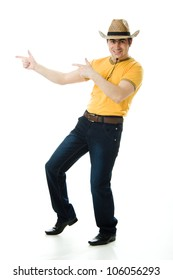 Dancing Cowboy finger points forward on a white background.