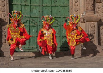 Dancing devils of the Candelaria festival. Puno - Peru.