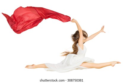 Dancing girl in dress isolated