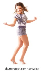 dancing girl isolated on white