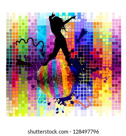 Dancing girl on a colorful background. Raster