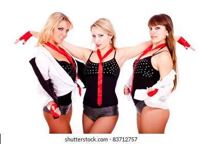 dancing girls photoset in studio on white background