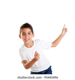 dancing happy children kid boy with fingers up isolated on white