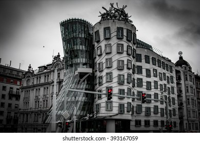 Dancing House / Black and White with Red traffic lights.