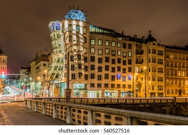 Dancing house in Prague at night, Czech republic