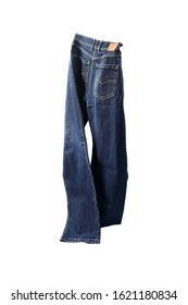 Dancing jeans on white background