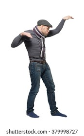 Dancing man in a gray cap and a gray scarf. Isolated.