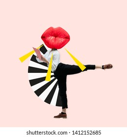Dancing office woman in classic suit like a ballet dancer headed by the big red female lips against trendy coral background. Negative space to insert your text. Modern design. Contemporary art collage