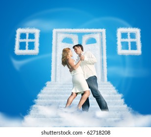 dancing pair on dream cloud door way and windows collage on blue