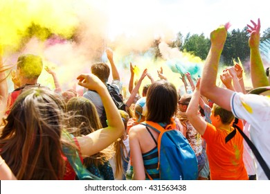 Dancing people no the annual holi festival of colors ColorFest in Grodno, Belarus