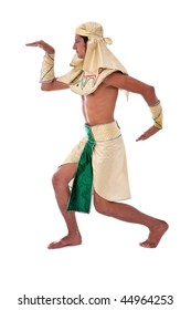 dancing pharaoh on white background with a egyptian costume