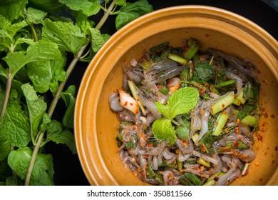 "Dancing Shrimp Salad (shrimps alive in spicy sauce) ""Kungten"" food of thailand"