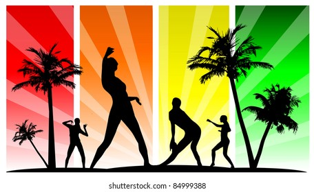 dancing silhouette group with palm tree