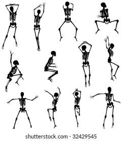 Dancing Skeletons Bitmap Silhouettes