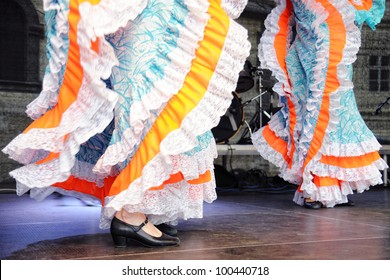 Dancing in traditional costumes