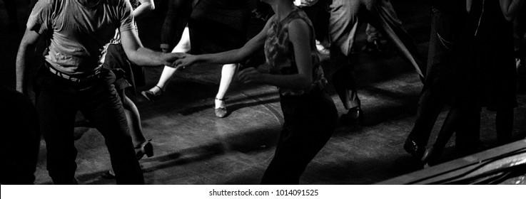 Dancing at the vintage swing music party