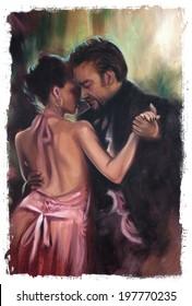 Dancing Waltz Couple Torn Edges