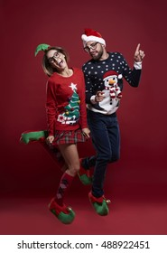 Dancing and wearing Christmas jumpers