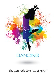 Dancing Woman. Colorful dancing concept 1.