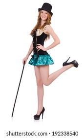 Dancing woman magician with walking stick isolated on white