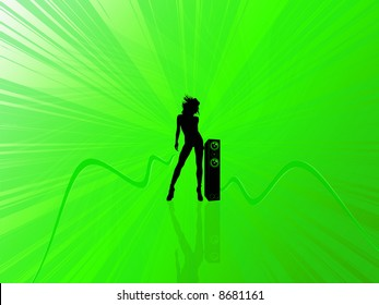 Dancing woman on green background