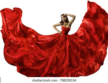 Dancing Woman in Red Dress, Fashion Model Dance in Silk Ball Gown, Waving Flowing Fabric