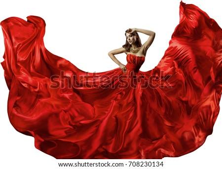 2123a92c3031a1 Dancing Woman Red Dress Fashion Model stockfoto (nu bewerken ...