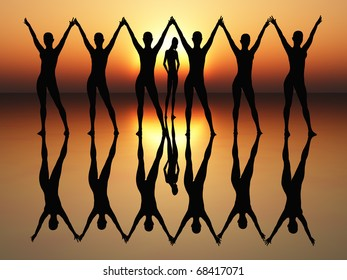 Dancing women in the rising sun as symbol for wealth, joy, elegance and success.