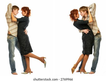 Dancing young couple in love. Isolated over white background