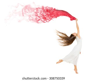Dancing young girl with red cloth isolated
