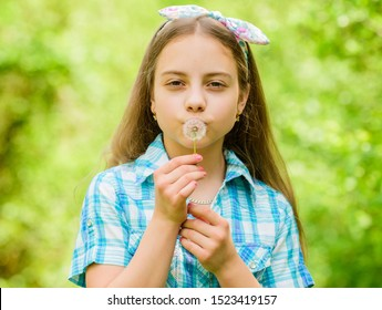 Dandelion beautiful and full symbolism. Light as dandelion. Having fun. Girl rustic style making wish and blowing dandelion nature background. Why people wish on dandelions. Celebrating summer.