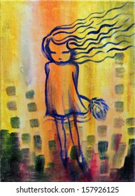 Dandelion Girl. Abstract painting of a little girl on yellow background