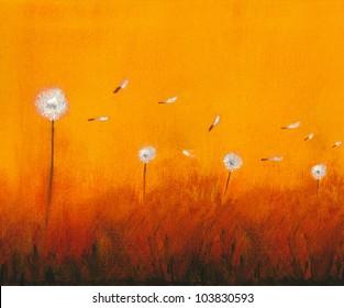 Dandelion Original oil painting on canvas artwork