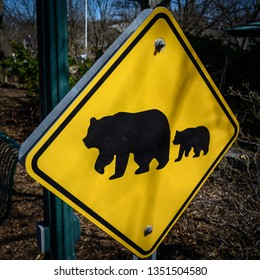Danger Black and Grizzly Bear Crossing Sign
