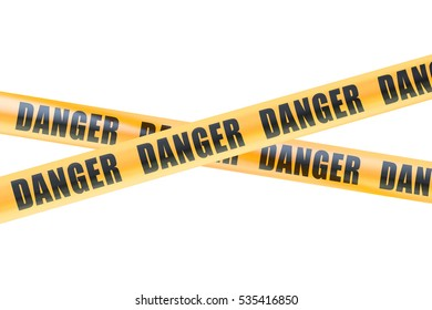 Danger Caution Barrier Tapes, 3D rendering isolated on white background