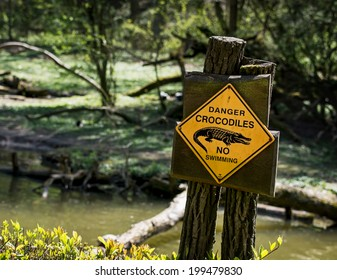 Danger crocodiles, no swimming - warning sign.