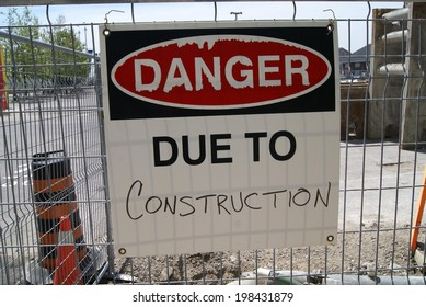 danger. due to construction sign
