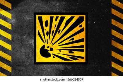 Danger of explosions - sign - danger background